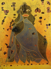 The Holy Virgin Mary. Chris Ofili, 1996. Oil, elephant dung, polyester resin, glitter, collaged pornographic images.