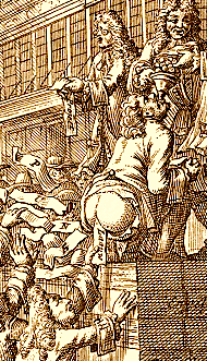 Detail of the frontispiece illustration of an edition of the 1720 Pieter Langendijk farce Arlequin Actionist