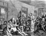 Bedlam. Hogarth, A Rake's Progress, plate eight. C. 1735