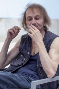 Michel Houellebecq: 'looks like a man who has crawled out of a giant ashtray after a prolonged alcoholic binge in clothes that have not been washed for weeks. This does not mean he approves of the world he inhabits: it is simply that he can conceive of no other, at least for Western man, and if anyone thinks otherwise he is deceiving himself. Grunge is reality; everything else is veneer.