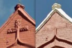 Before and after: at Jamiah Masjid Mohiuddin Siddiquia in Aston, someone has climbed up to the roof and hacked off the cross