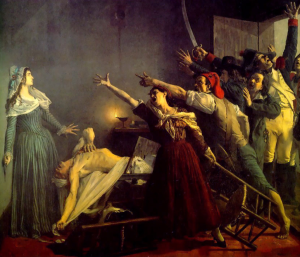 Marat assassiné! 13 juillet 1793, 8h du soir (1880), Musée d'art et d'industrie de Roubaix. Dalrymple writes that pictures by Weerts 'horrify us' because of 'their kitschiness, their literal realism but emotional preposterousness, in short their bad taste'