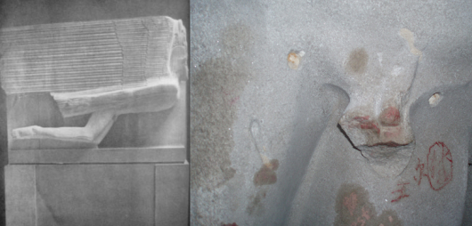 Before and after: Epstein's Wilde tomb at Père-Lachaise is, writes Dalrymple, an 'aesthetic abomination'. He points out that 'an Englishwoman, outraged by the sight of the carved figure's genitals, destroyed them with a hammer,  confirming the French view of the English as a nation of hypocritical and unsophisticated prudes and puritans'. The tomb is now protected 'by screens of what looks like bullet-proof glass'