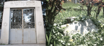 Cimitero Ebraico di Ferrara: the entrance, and Bassani's grave