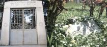 Cimitero Ebraico di Ferrara: the entrance, and Bassani's grave
