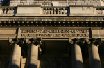 Inscription at the Old Bailey, above the main entrance to the building opened in 1907. 'He shall keep the simple folk by their right: defend the children of the poor, and punish the wrong-doer.' From the Book of Common Prayer, Psalm 72