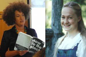 Today and as a teenager: Rachel Dolezal, who is of German, Czech and Swedish ancestry, is president of the Spokane chapter of the National Association for the Advancement of Colored People. She  has been portraying herself as African American for a decade. Dalrymple writes: 'Victims are the heroes of the politically correct; their victimhood confers unique moral authority upon them ex officio. And since many would like to be a unique moral authority, it follows that they would like to be a victim. The fact soon follows the wish, at least in their own estimation.'