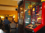 The flashing lights of fruit machines