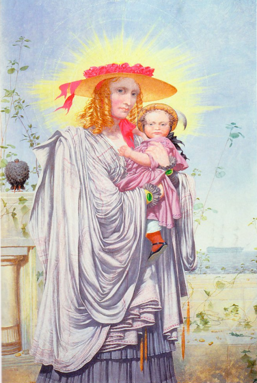 In 1865, writes Dalrymple, 'the asylum notes show Richard Dadd to have been painting almost every day. His thoughts were mad, but he continued to work until he became too weak physically to go on. His output was considerable, of high quality and deeply disturbing. A mother and child, painted in 1860, were clearly modelled on the religious motif, but the mother holds the child without tenderness, and the child, still a baby, stares straight ahead with an appraising look of concentrated malignity. On a ledge in the background sits a blackish bird with ruffled feathers that appears to be a vulture'.