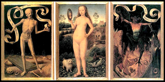 Earthly Vanity and Divine Salvation (front of triptych), c. 1485. Musée des Beaux-Arts de Strasbourg