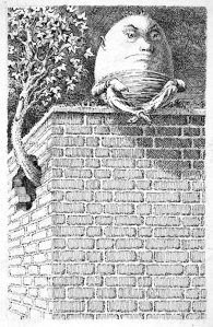 'When I use a word,' Humpty Dumpty said, in rather a scornful tone, 'it means just what I choose it to mean — neither more nor less.' (Carroll, Through the Looking-Glass, Mervyn Peake illustration)